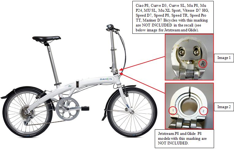 Picture of Recalled Folding Bicycle with note indicating 'Bicycles with this sticker - Radius Handlepost - and/or this marking are not included in the recall'