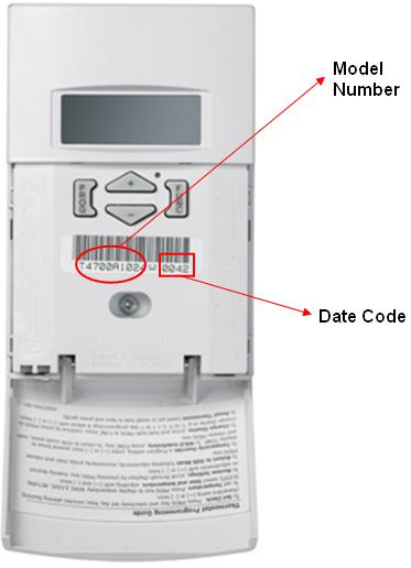 Picture of recalled Honeywell thermostat showing model number and date code locations