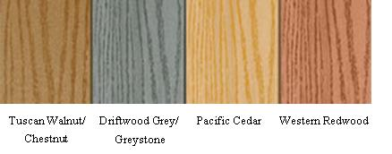 Picture of Recalled Decking, from left to right: Tuscan Walnut/Chestnut, Driftwood Grey/Greystone, Pacific Cedar, and Western Redwood