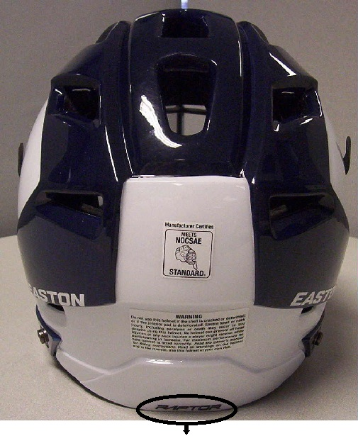 Picture of recalled Lacrosse Helmet showing location of the word 'Raptor'