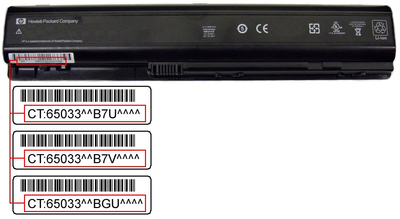 Picture of Recalled Lithium-Ion battery with bar codes indicated