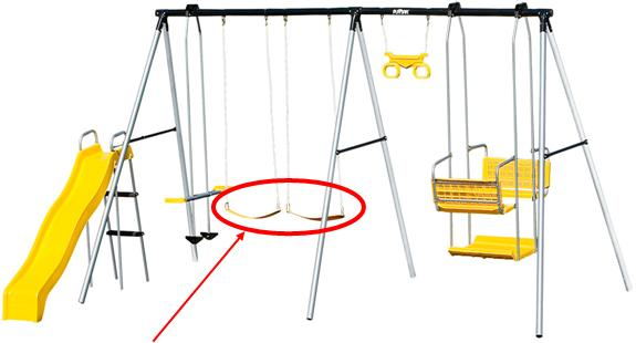 Picture of recalled Playsafe Dartmouth swing set, highlighting the sling-style swing seats