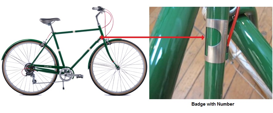 Picture of recalled bicycle showing location of metal badge