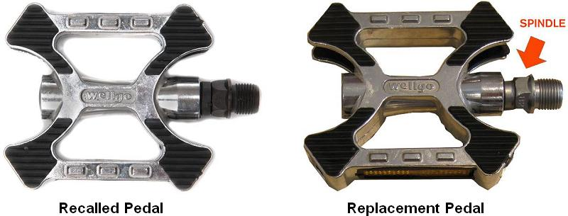 Picture of recalled pedal and replacement pedal showing spindle difference