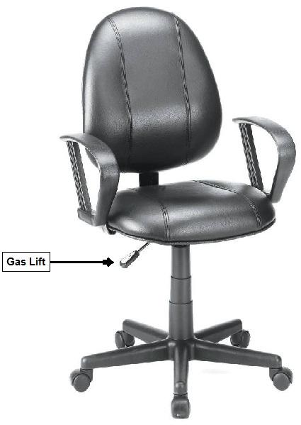 Picture of recalled Desk Chair showing location of gas lift