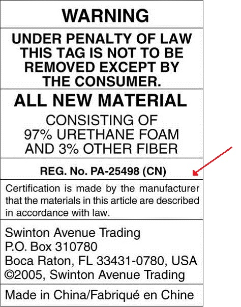 Picture of recalled Desk Chair warning label showing Reg No