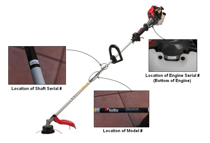 Picture of recalled RedMax Brushcutter / Trimmer TR2350S Brushcutter