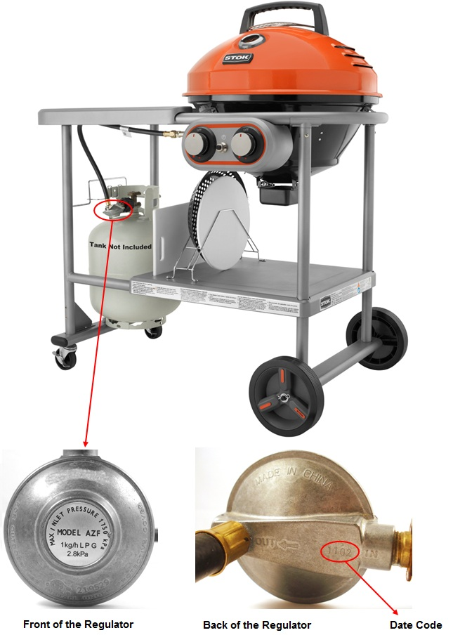Picture of recalled STOK Island Grill showing front and back of regulator and date code location