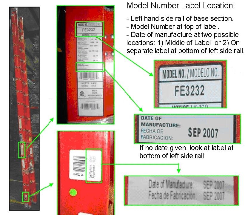 Picture of Recalled Extension Ladder and Labels
