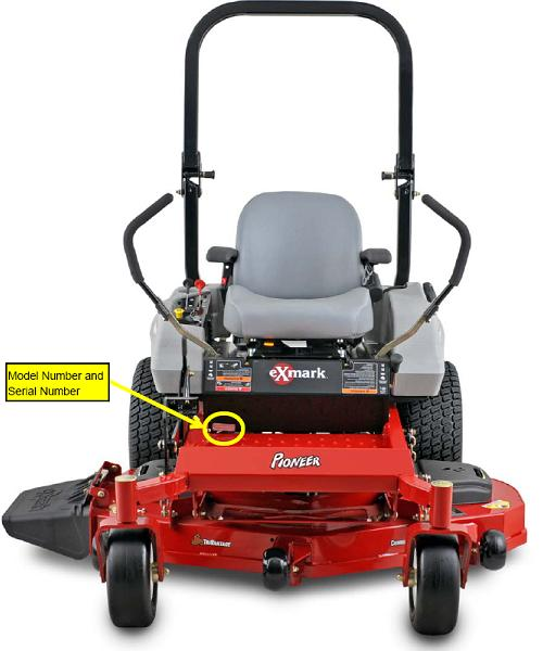 Picture of recalled mower showing the location of model number and serial number data plate
