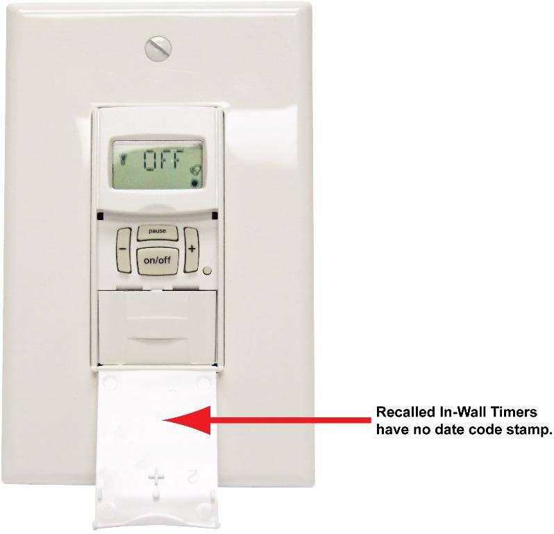 Recalled In-wall timers have no date code stamp