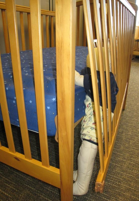 Picture of Recalled Crib and entrapment hazard