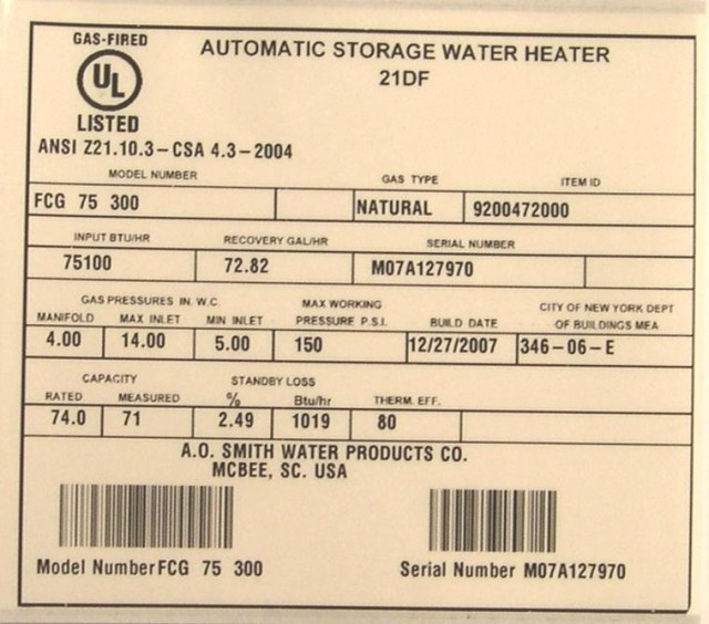 Picture of Recalled Natural and Propane Gas Water Heaters Label