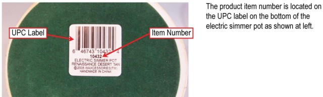Picture of Recalled Electric Simmer Pot Label - The Product item number is located on the UPC label on the bottom of the electric simmer pot.