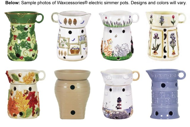 Picture of Recalled Electric Simmer Pots - Sample photos of Waxcessories electric simmre pots.  Designs and colors will vary.