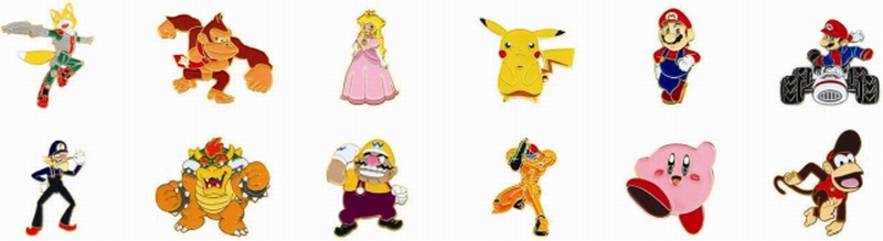 Picture of Recalled Character-themed lapel pins