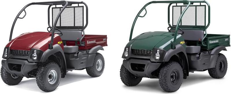 Picture of recalled MULE 610 4x4 (KAF400ACF) red and green utility vehicles