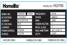 Picture of Homelite Label