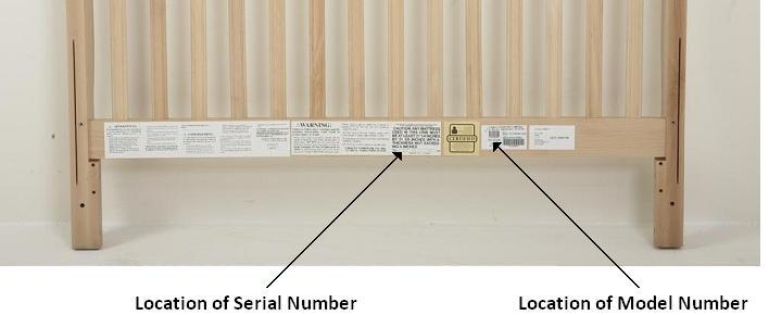 Picture of Label Locations on Recalled Crib