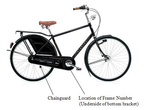 Picture of Recalled Amsterdam Bicycle with arrows pointing toward the Chainguard and the location of the frame number (on the underside of hte bottom bracket)