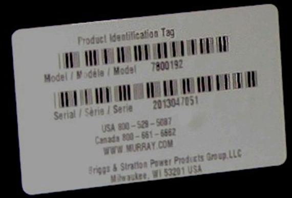Picture of Recalled Murray Front Engine Riding Lawn Mower Identification Tag