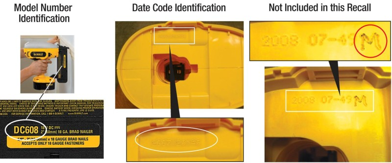 Picture of Model Number Identification, Date Code Identification, and a Date Code Not Included in this Recall