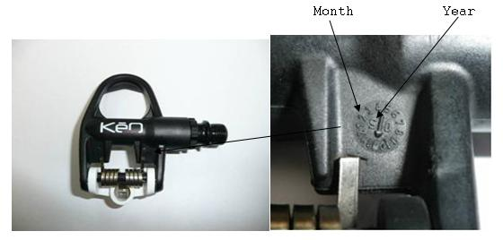 Picture of Classic, Spring, and Carbon pedal with indicator for month and year of production