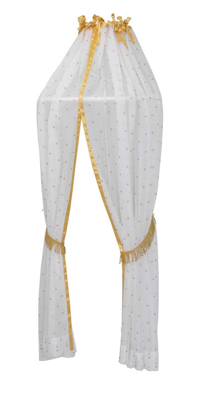 White canopy with golden ribbon at the top and crowns printed on sheer white fabric
