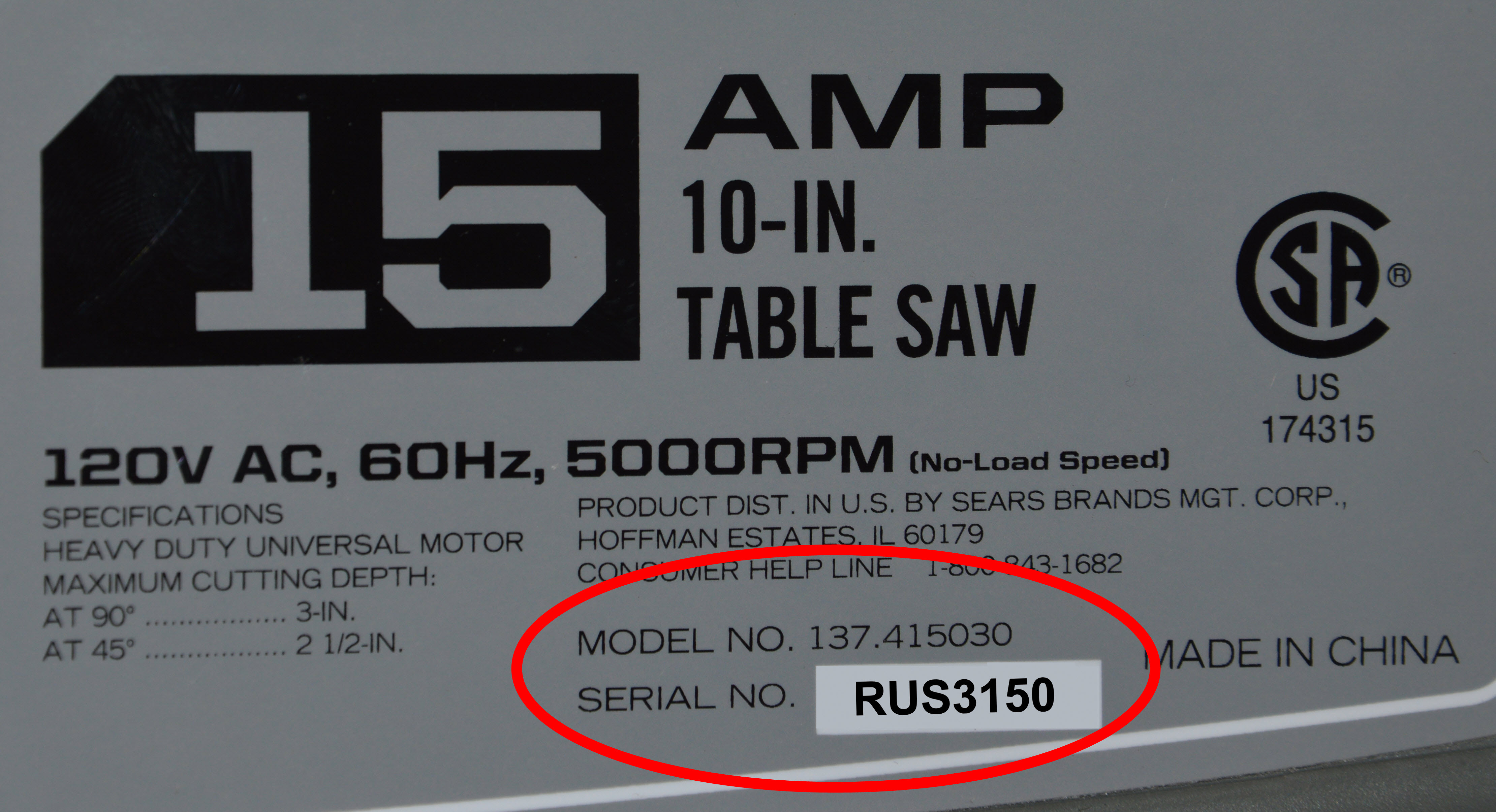 Close Up of Model &  Serial Numbers Circled
