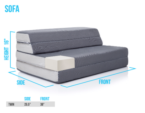 Recalled DownEast Mattress on the Go folding mattress – sofa setup