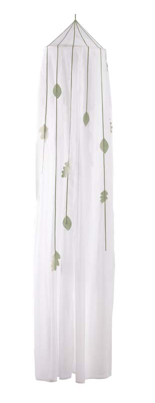 White pointed canopy top with green leaf decorations sewn on the sheer white fabric