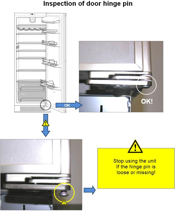 Inspection of door hinge pin