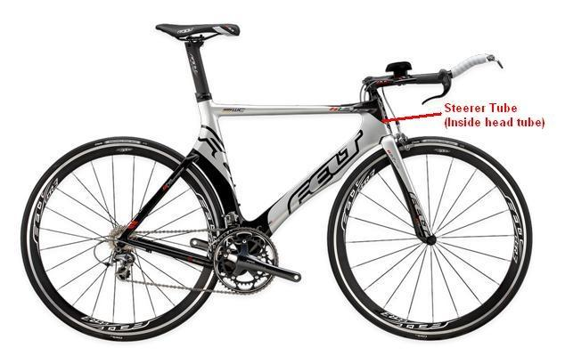 Picture of Recalled Bicycle showing steerer tube (inside head tube)