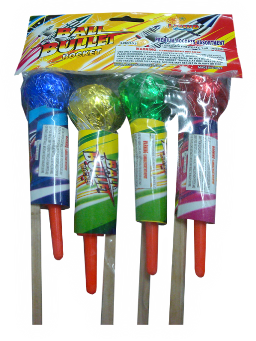 Photo 1: Recalled LB6103 ball bullet rocket fireworks
