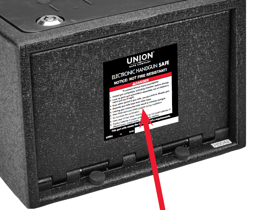 Label location on Union handgun safe