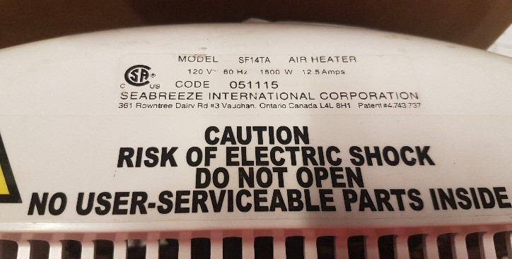 Label for the recalled SF14TA Smart Thermaflo Bathroom Heater Fan with nightlight.