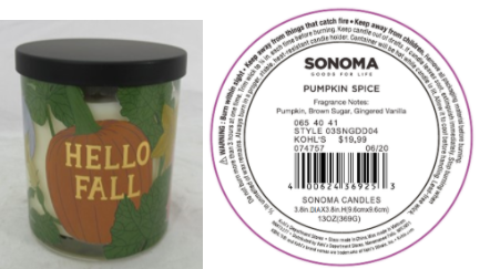 Recalled Kohl's Hello Fall Candle
