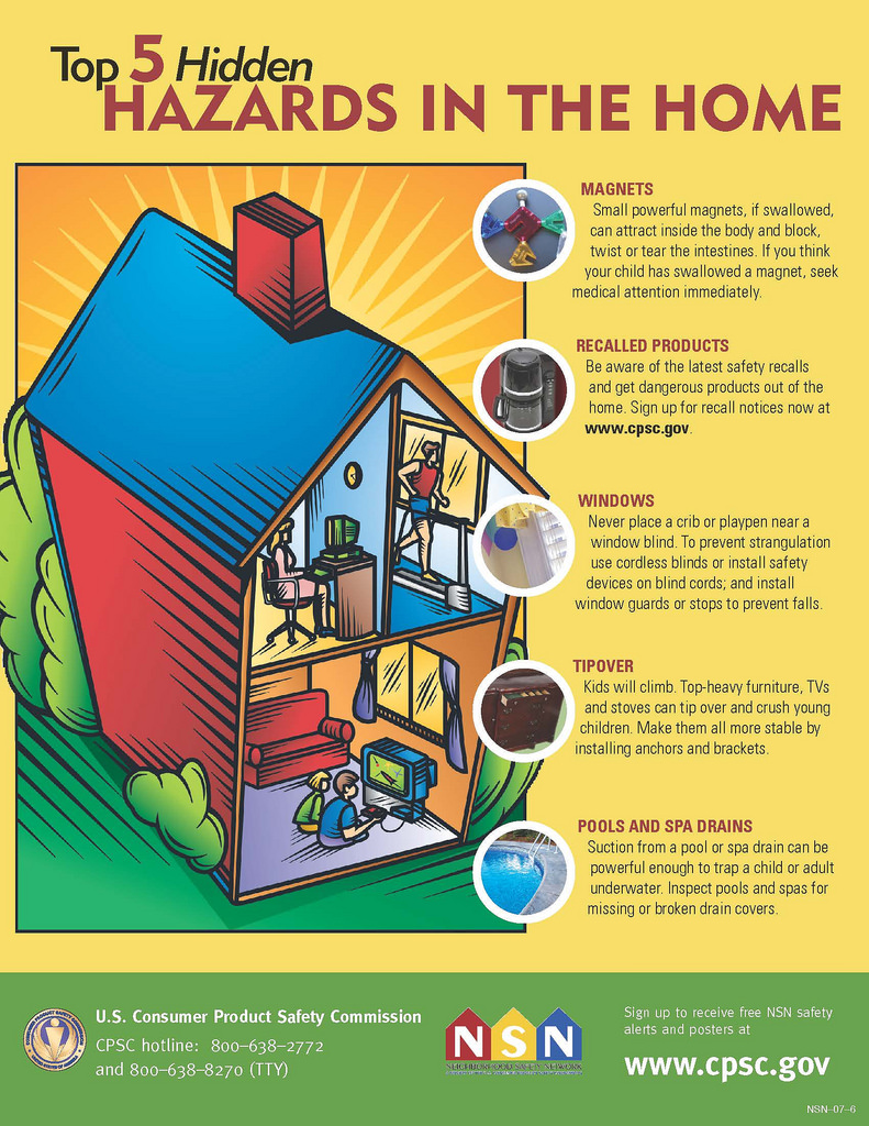 Top 5 Hidden Home Hazards | CPSC.gov Home Safety Tips on travel safety, pool safety, home construction tips, home security, online safety, home repair, home selling tips, bicycle safety, home emergency preparedness, halloween safety tips, health tips, home tips and tricks, safety training, home maintenance tips, maintenance tips, caregiving tips, home storage tips, home business tips, home management tips, parenting tips, home emergency tips, fire safety, home care tips, baby safety, internet safety, personal hygiene tips,