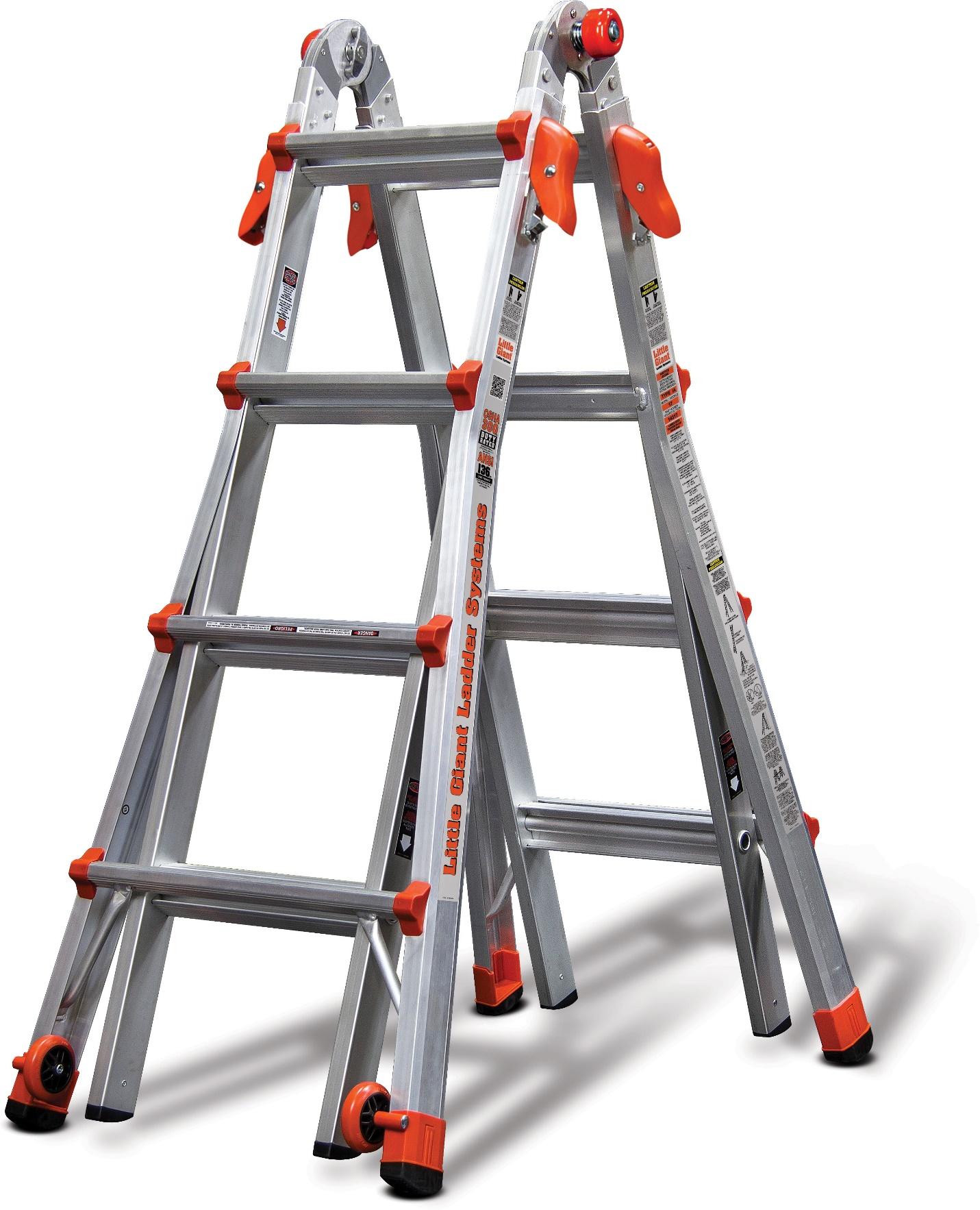 Little Giant offers extension ladders that take up as much room in your shed as one ladder but perform the duties of multiple ladders. Innovations from Little Giant include a foot ladder that does the job of 18 different types of ladders.