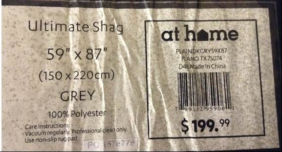 Ultimate Shag Rug Label