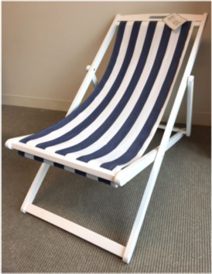 T.J. Maxx and Marshalls foldable lounge chair with white and blue stripe fabric