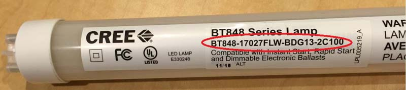 Product number location on the Cree LED T8 Replacement Lamp