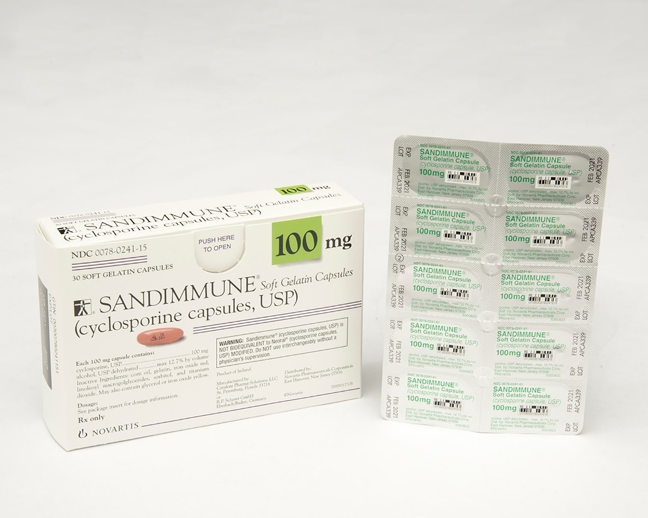 Recalled Sandimmune® 100 mg soft gelatin capsules