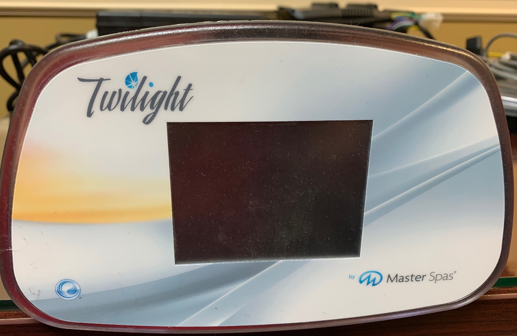 "A Master Spas control panel cover showing the brand name ""Twilight"""