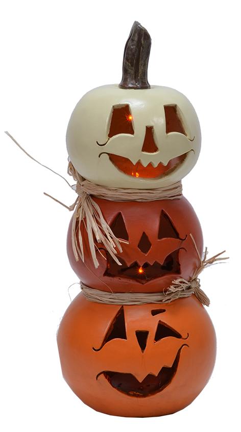 image of Stacked Gourd Jack-O-Lantern decorations
