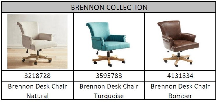 Recalled Pier 1 Brennon collection desk chairs with model number and color