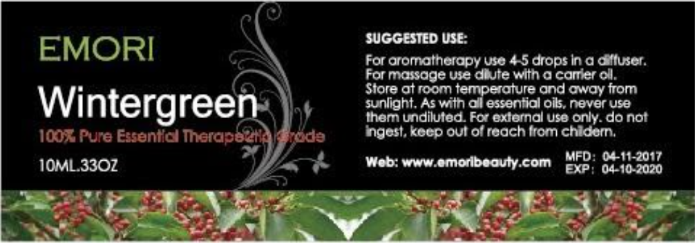 Label of recalled Wintergreen Essential Oil