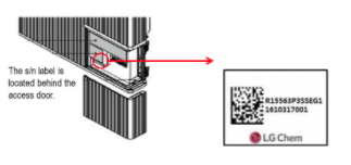 The serial number label is located behind the access door of the recalled RESU 10H (Type-R) home battery.