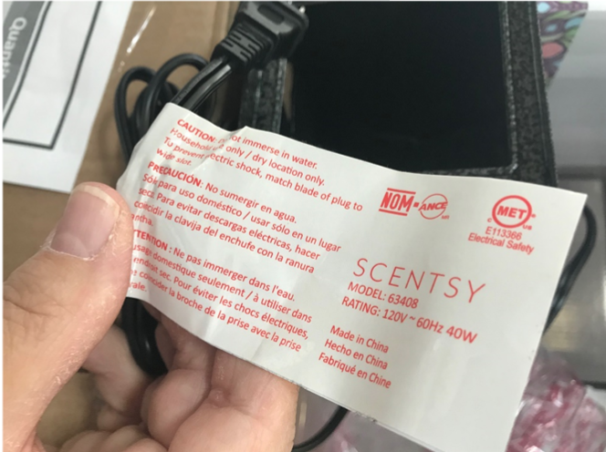 Recalled Luminary Jack product tag