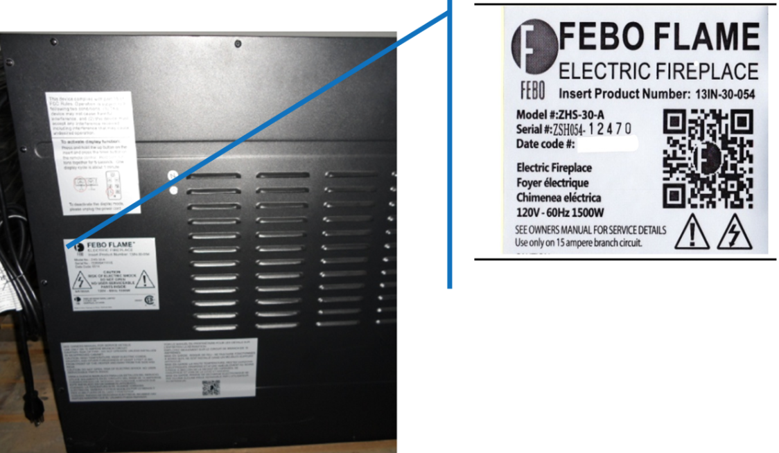 Back panel with label identifying model number